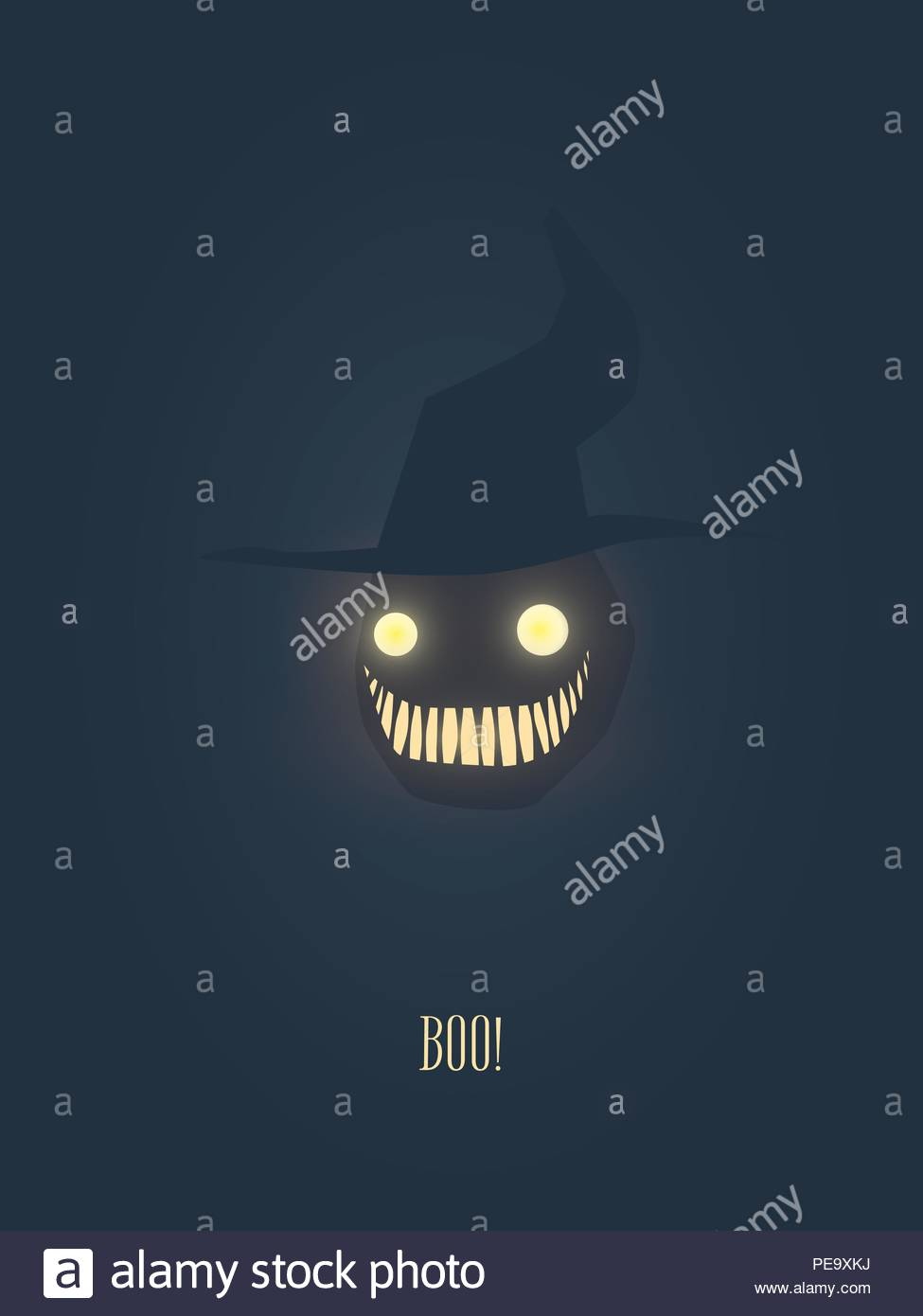 halloween vector illustration with monster face and hat eyes and