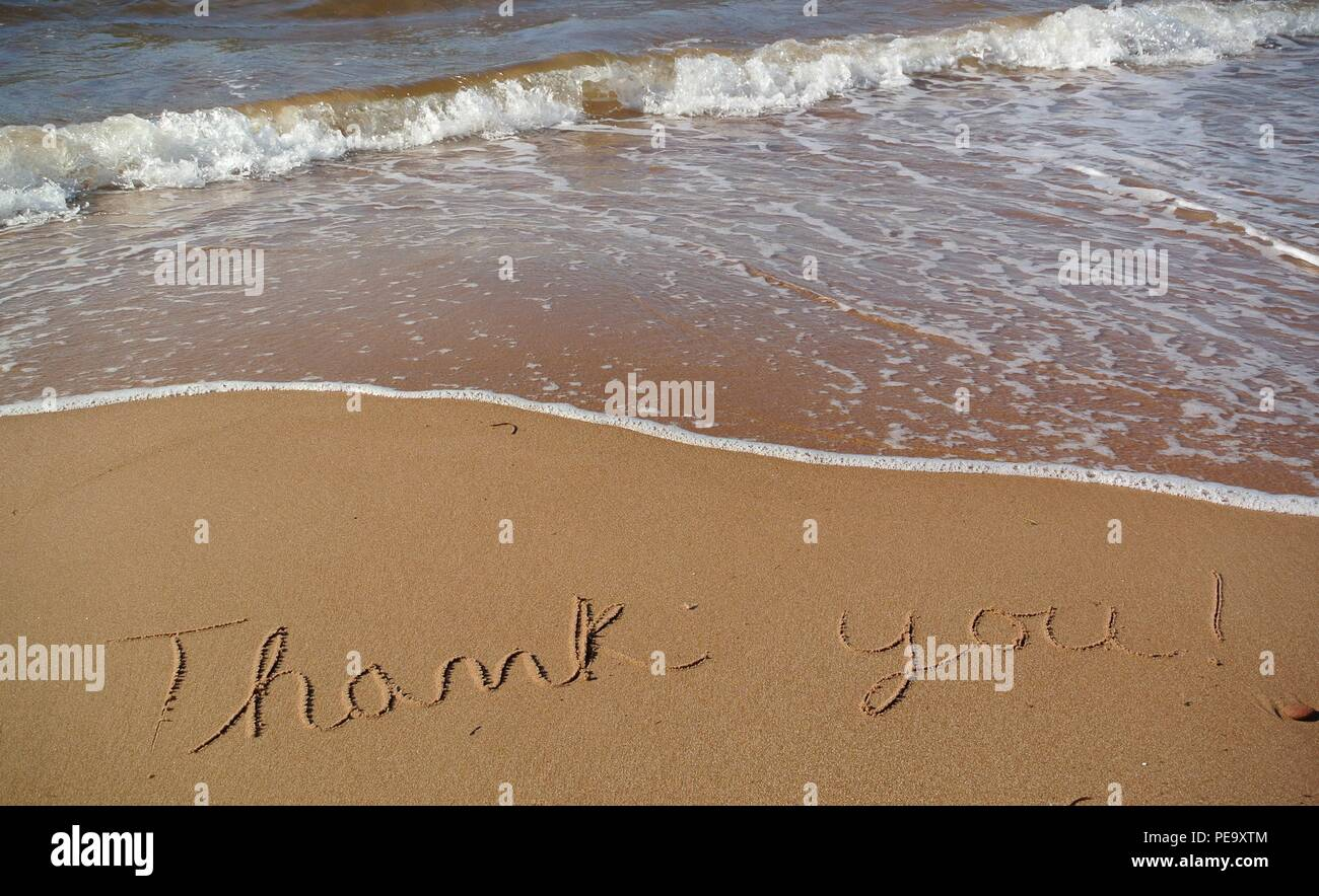 A beautiful gratitude message 'Thank you' handwritten in a cursive style on the red sand on a beach with a wave coming in, Prince Edward Island. - Stock Image