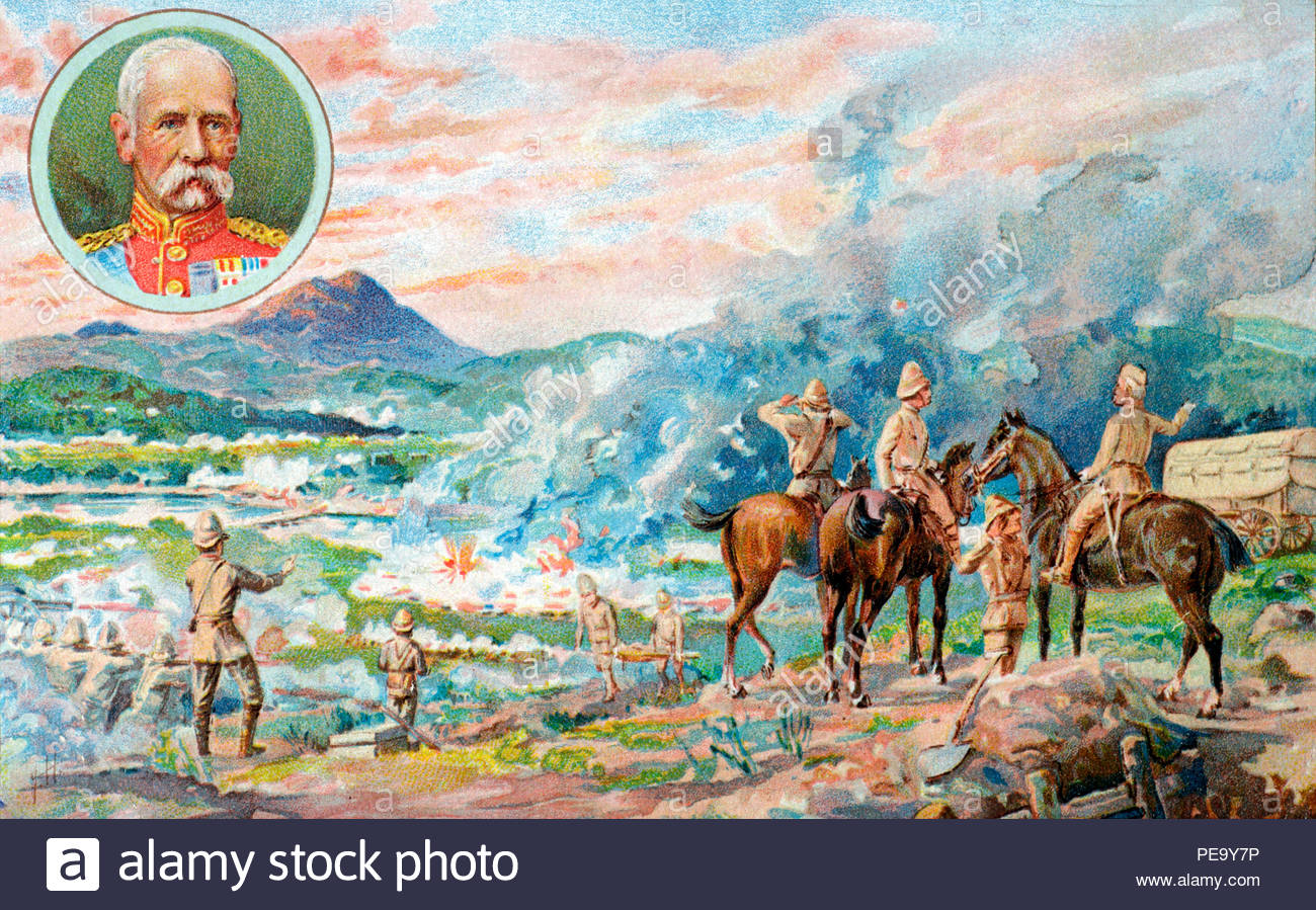 Paardeberg, 2nd Boer War, February 1900, published in c1900. Field Marshal Frederick Sleigh Roberts, 1st Earl Roberts inset. - Stock Image