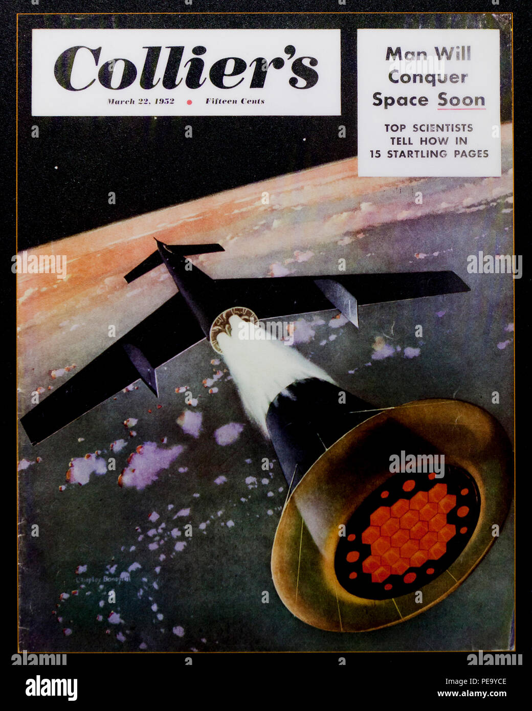 Collier's magazine cover displaying concept spaceplane (spaceship) and spaceflight, circa March 1952 - USA - Stock Image