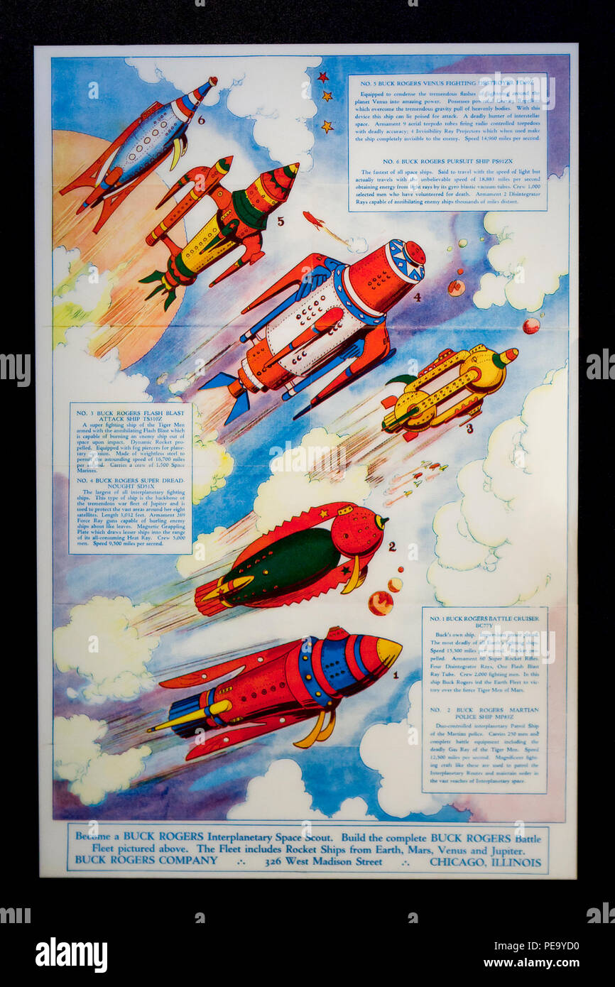 Poster ad by Buck Rogers Company displaying Buck Rogers spaceship models, circa 1930s - USA - Stock Image