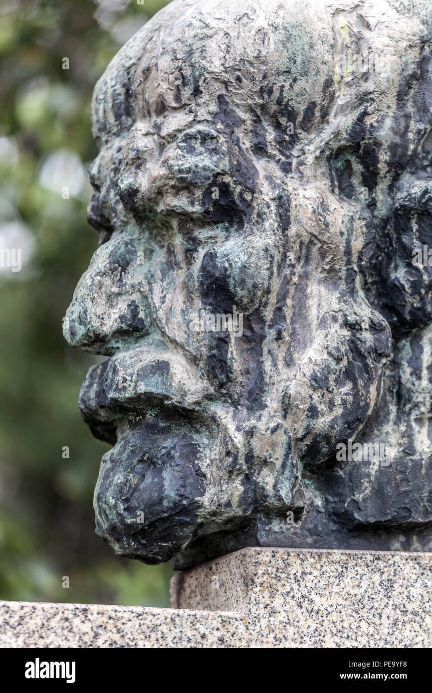 Bust of Sigmund Freud in his hometown, Pribor, Czech Republic - Stock Image