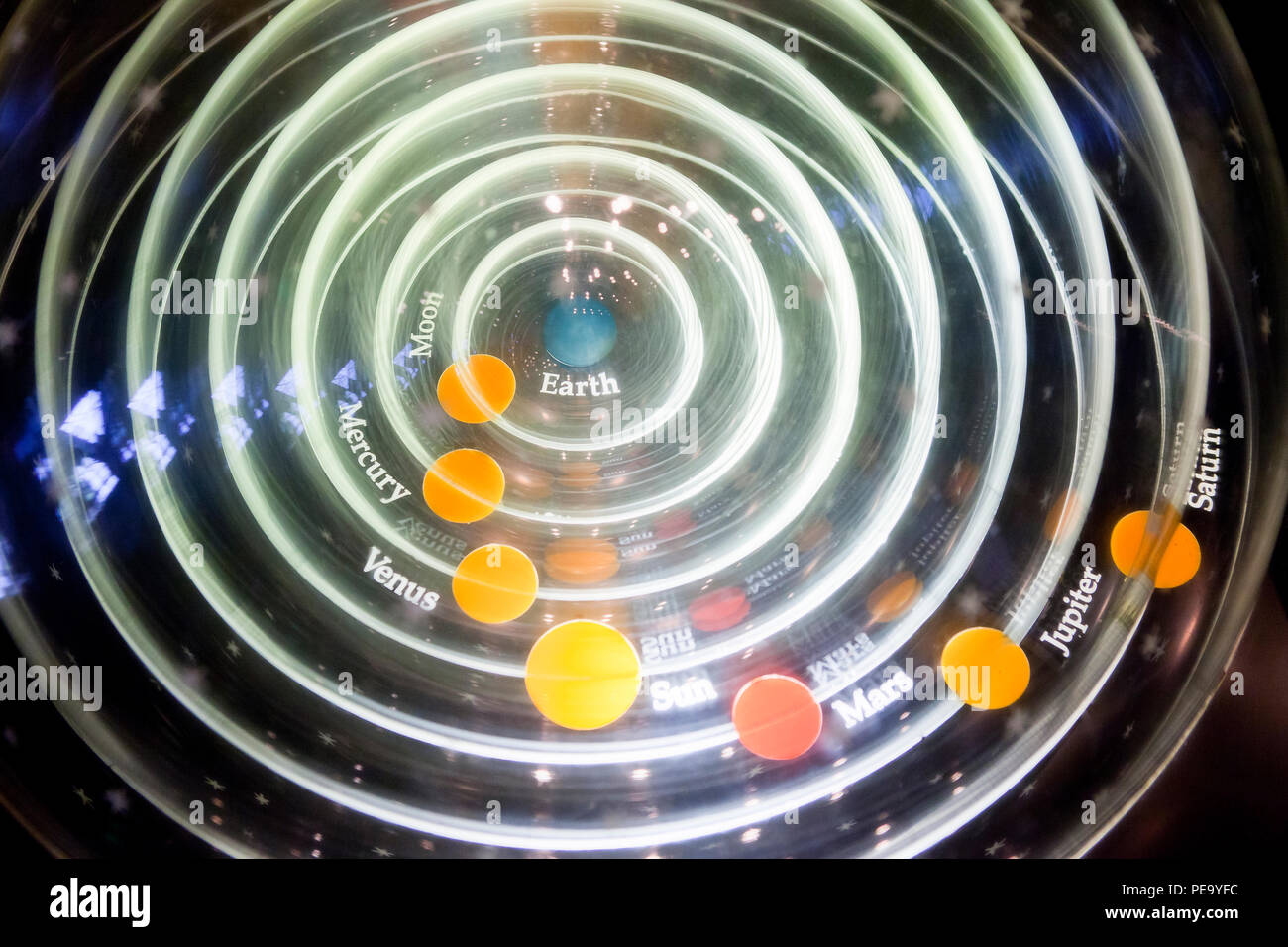 Model of Earth centered Solar System (Geocentric model) - Stock Image