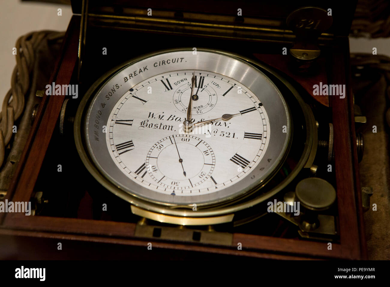 Vintage Marine Chronometer, William Bond & Son, circa 1870 - USA - Stock Image