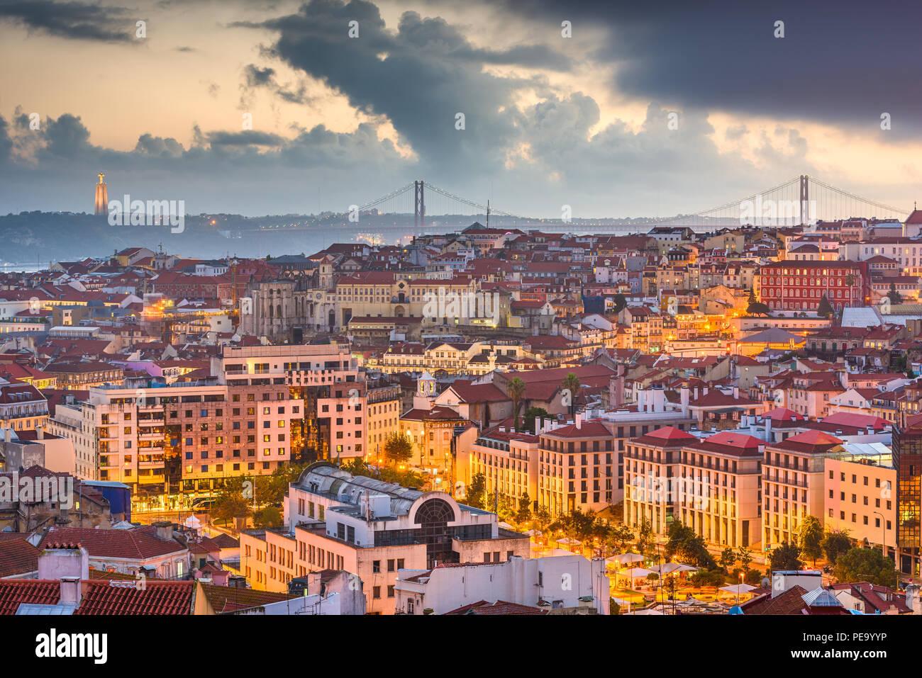 Lisbon, Portugal City Skyline over the Baixa district at dusk. Stock Photo