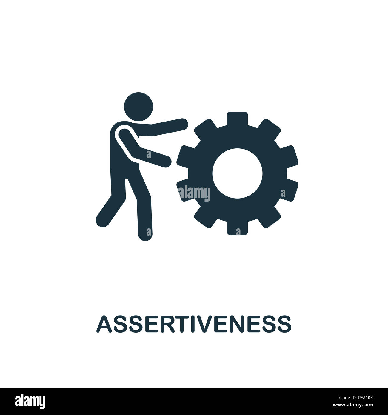 Assertiveness creative icon. Simple element illustration. Assertiveness concept symbol design from soft skills collection. Can be used for mobile and  - Stock Image