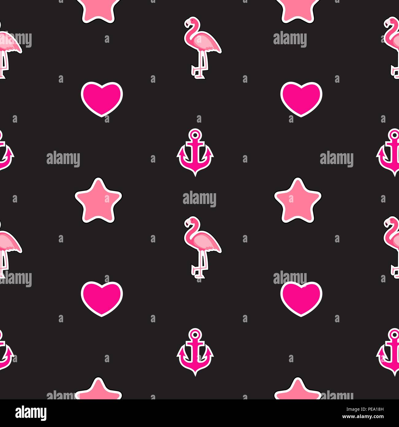 Seamless Pattern With Anchor Heart Flamingo Tropical Wallpaper