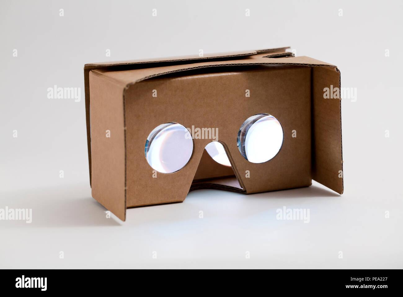 Google Cardboard VR (virtual reality) viewer - USA - Stock Image