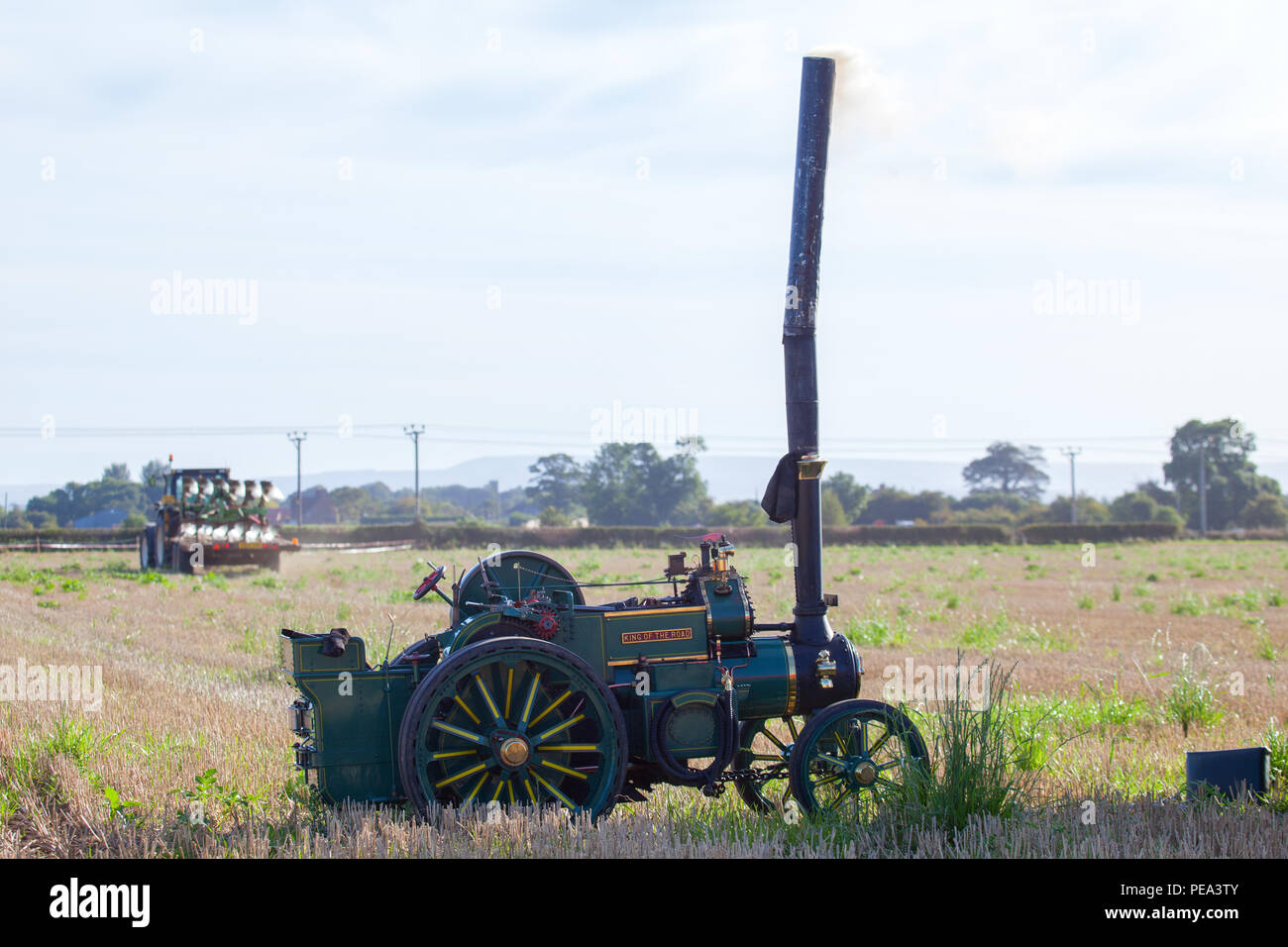 Steam traction engine at a Classic Car Show & Ploughing Match in Ainderby ,North Yorkshire. Stock Photo