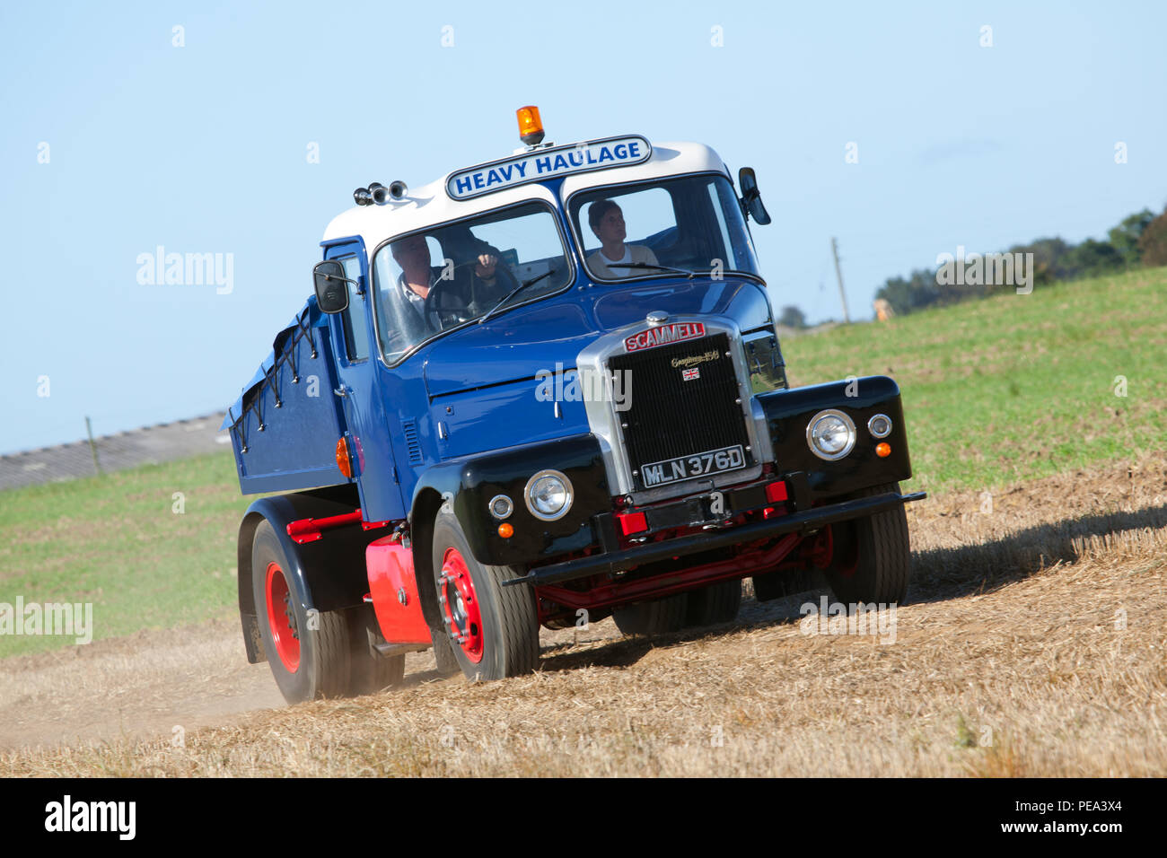 A 1966 Scammell Highwayman arriving at a Classic Car Show & Ploughing Match at Ainderby,North Yorkshire - Stock Image