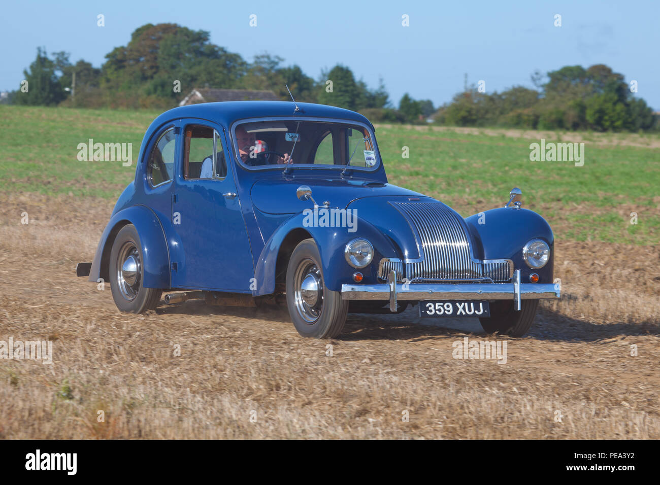 A blue Allard M Type arriving to a classic car show in North Yorkshire Stock Photo