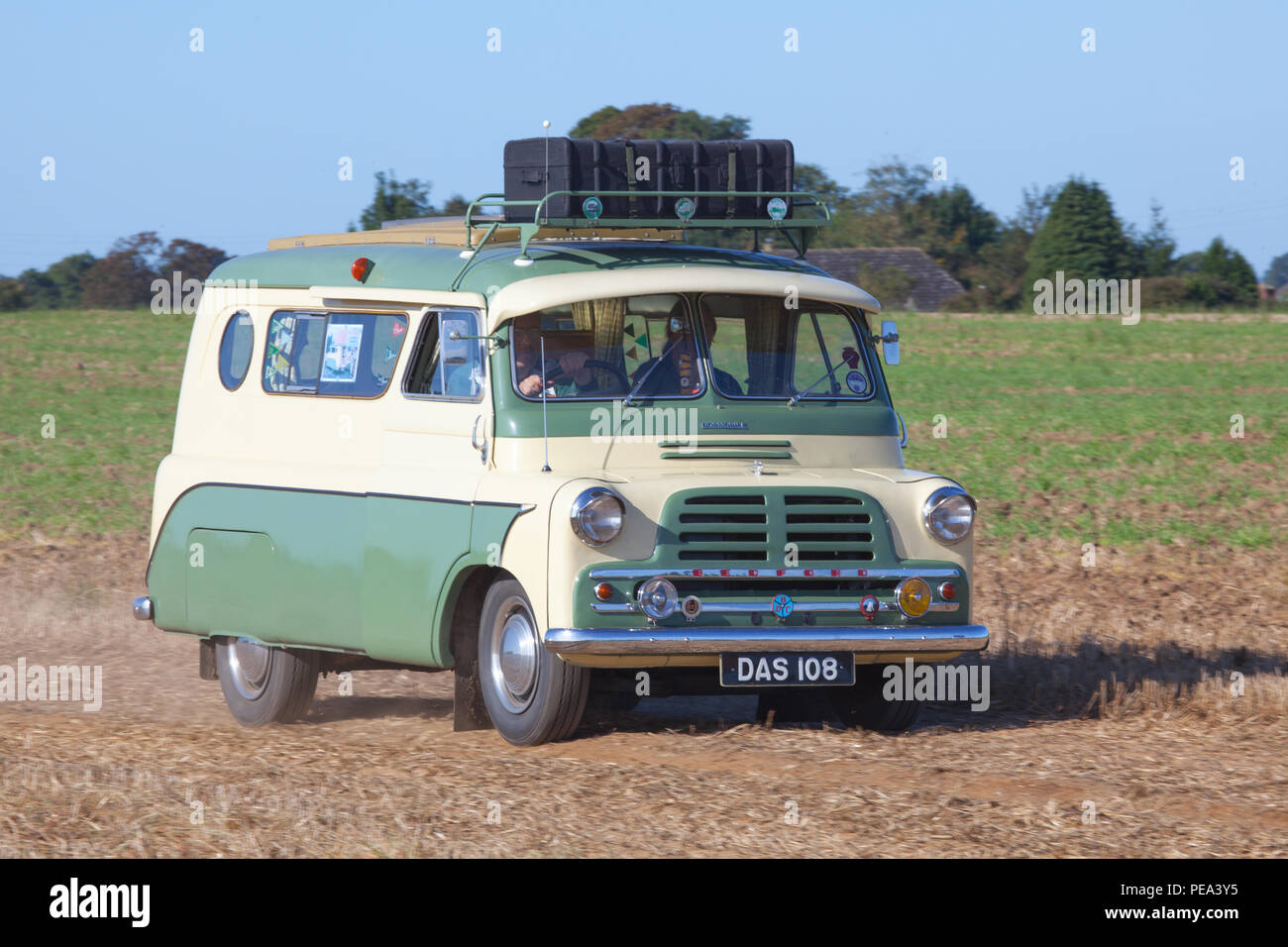 Bedford Dormobile Motorhome arriving at a Classic Car Show & Ploughing Match in Ainderby, North Yorkshire Stock Photo