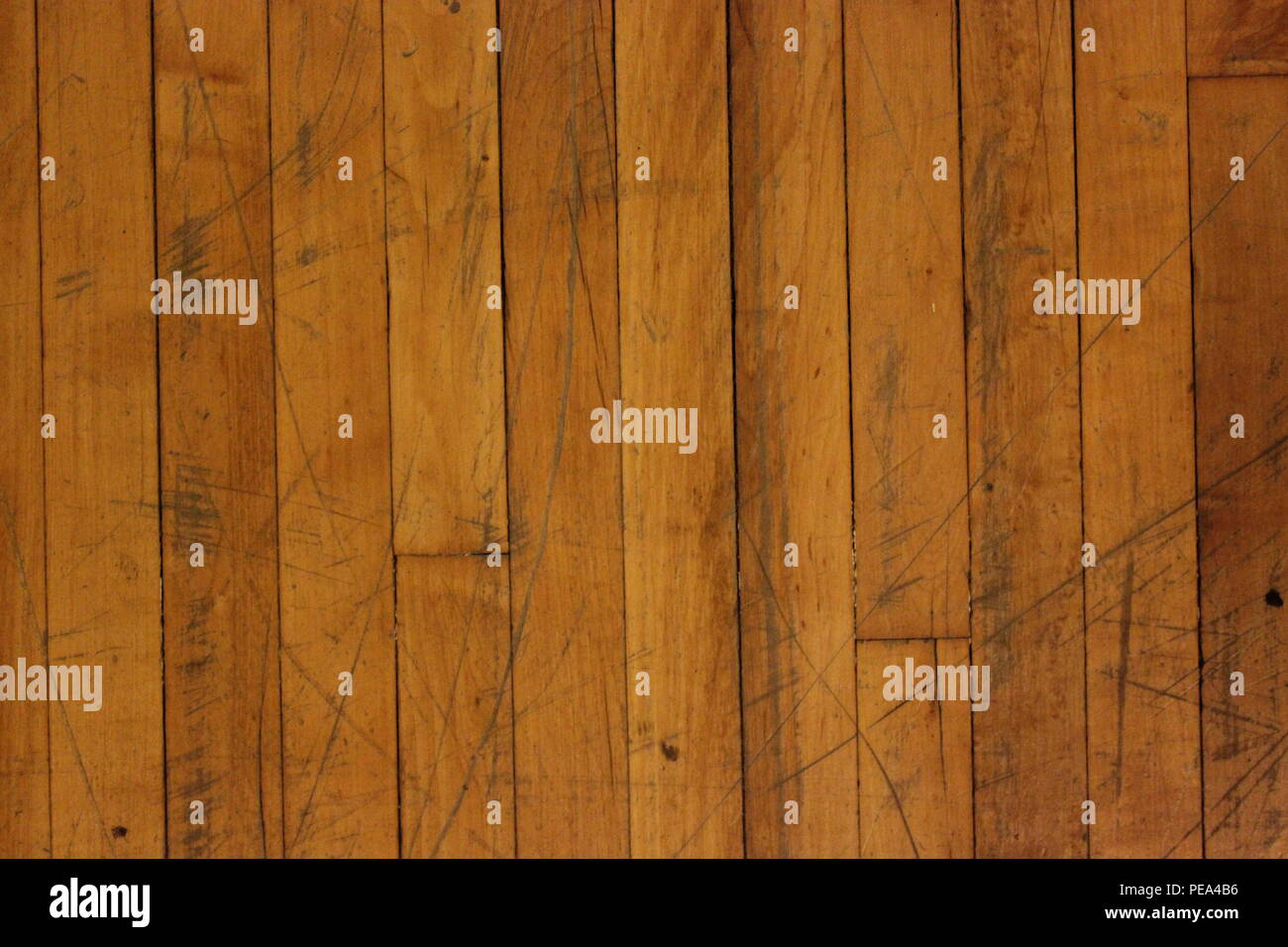 Vintage worn antique oak wood floor at Architectural Artifacts in Chicago, Illinois. - Stock Image
