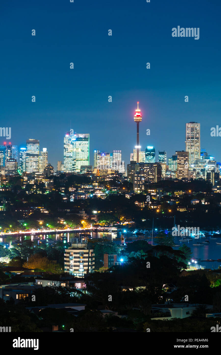 Sydney Tower and skyline at night - Stock Image