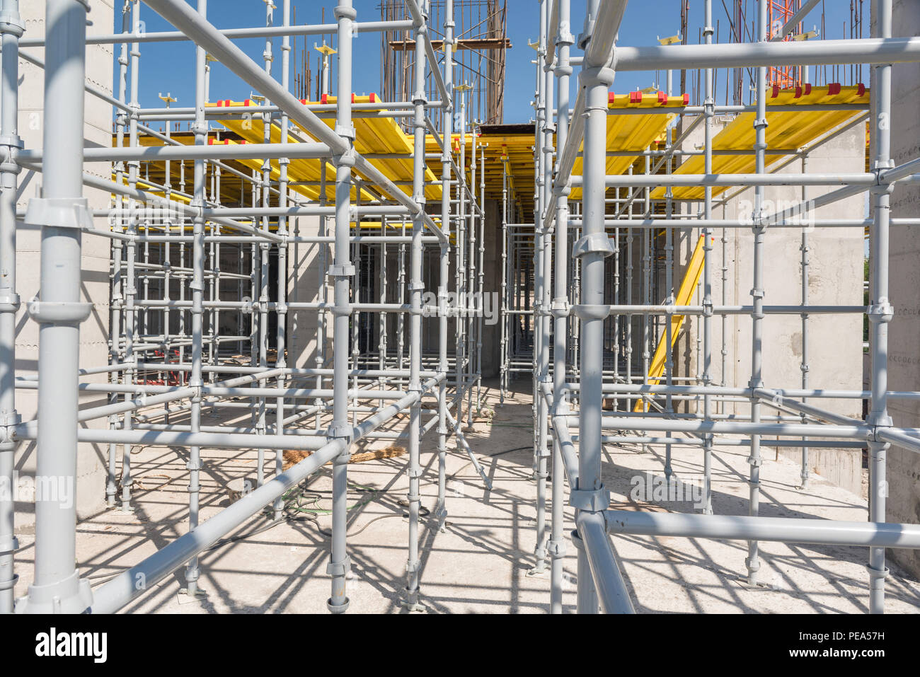metal scaffolding and supports close-up - Stock Image