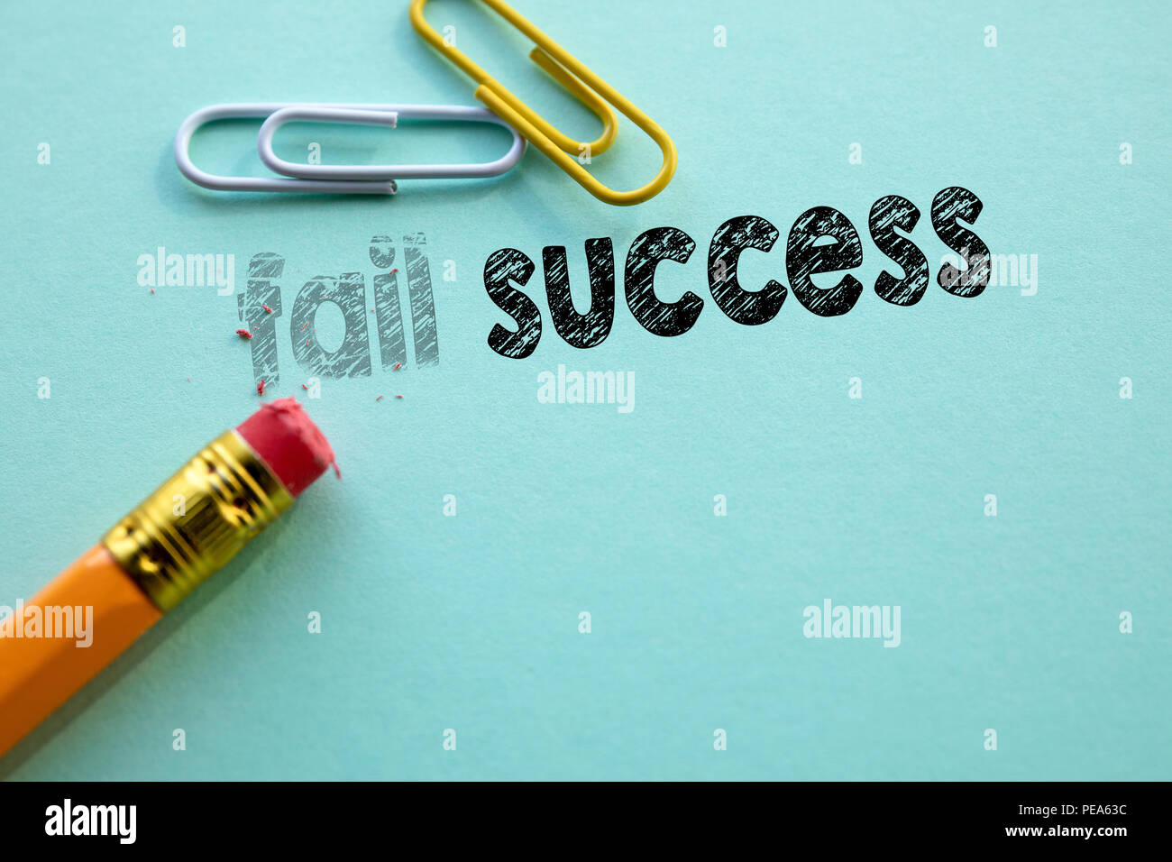 Making fail in to success by eraser - Stock Image