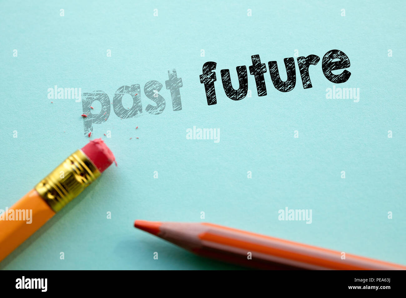 Making past in to future by eraser - Stock Image