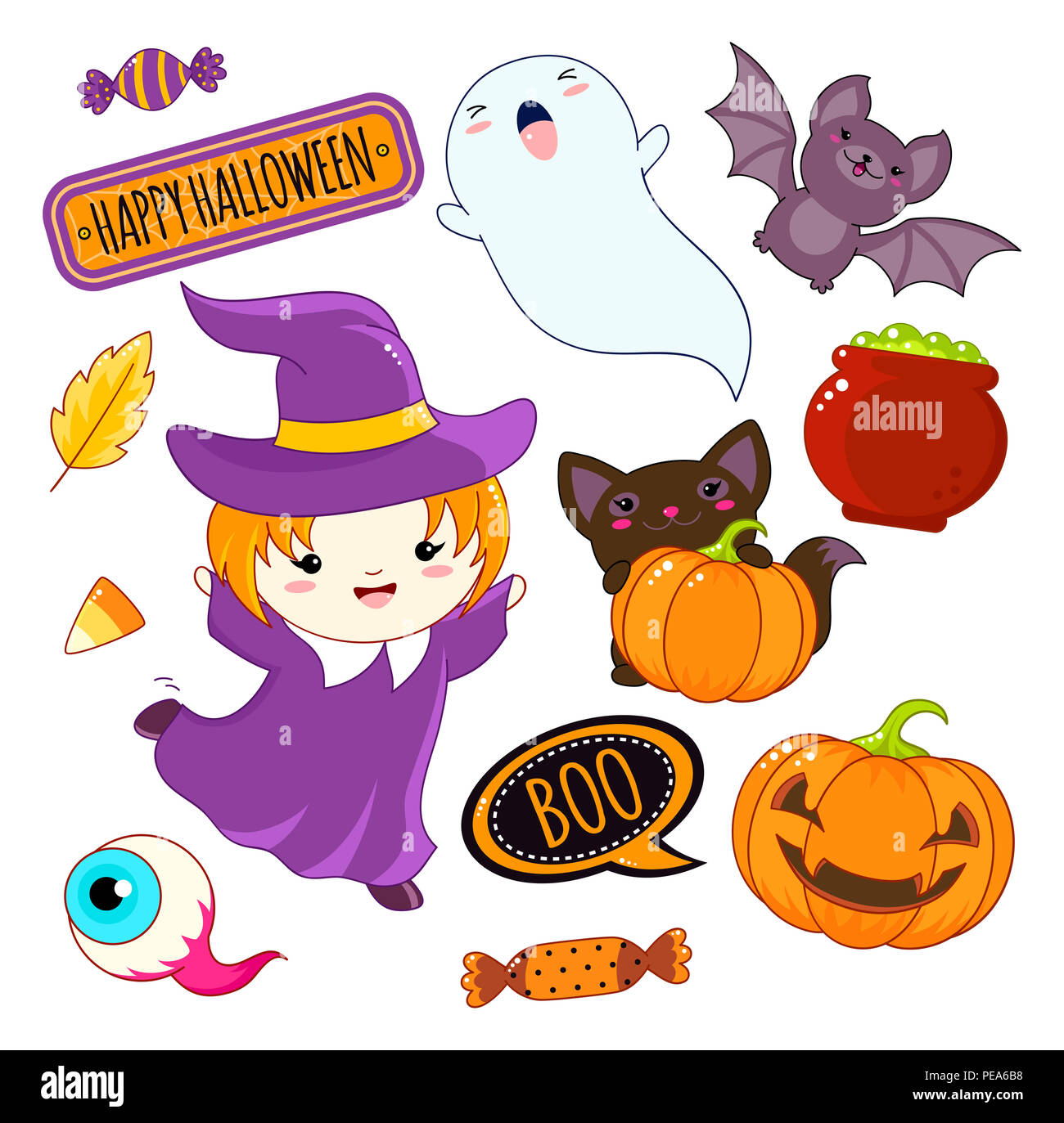 set of cute halloween characters and ornaments - girl in a witch