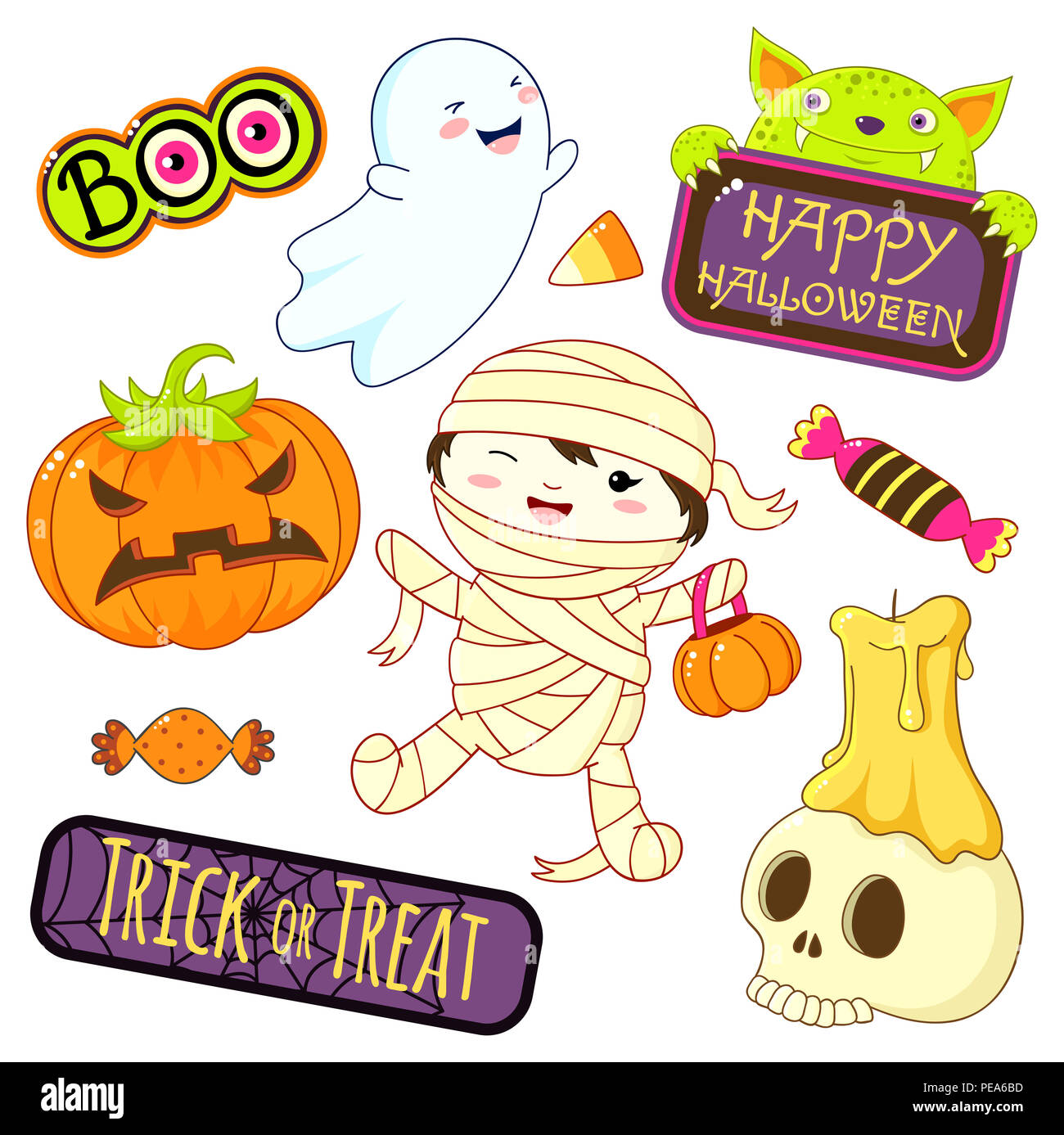 set of cute halloween characters and ornaments - boy in mummy