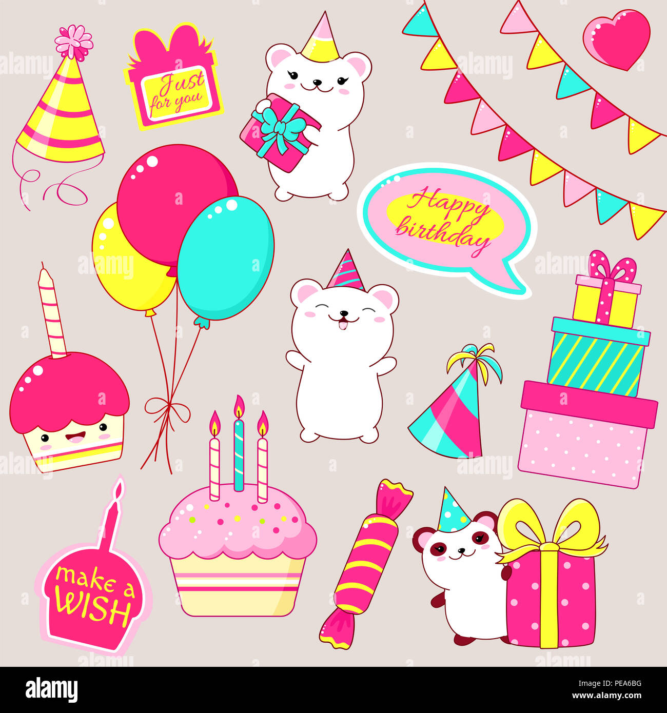 Set Of Cute Birthday Party Icons In Kawaii Style Polar Bear And Panda With Gift Cake Candles Flags Stack Gifts Candy Balloons Sticker W