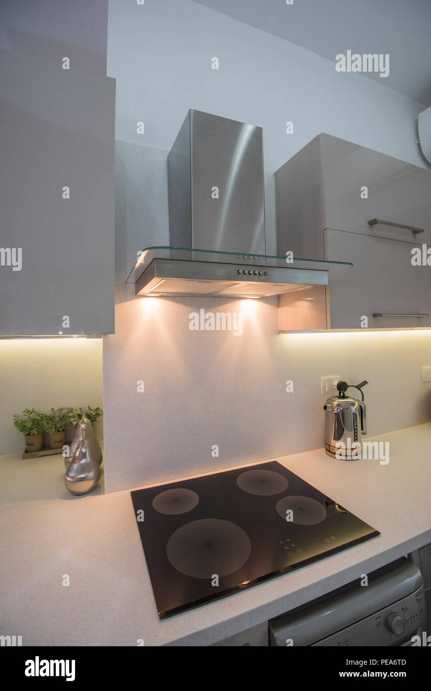 Interior Design Decor Showing Modern Kitchen And Cooker Appliances In Luxury Apartment Showroom Stock Photo Alamy