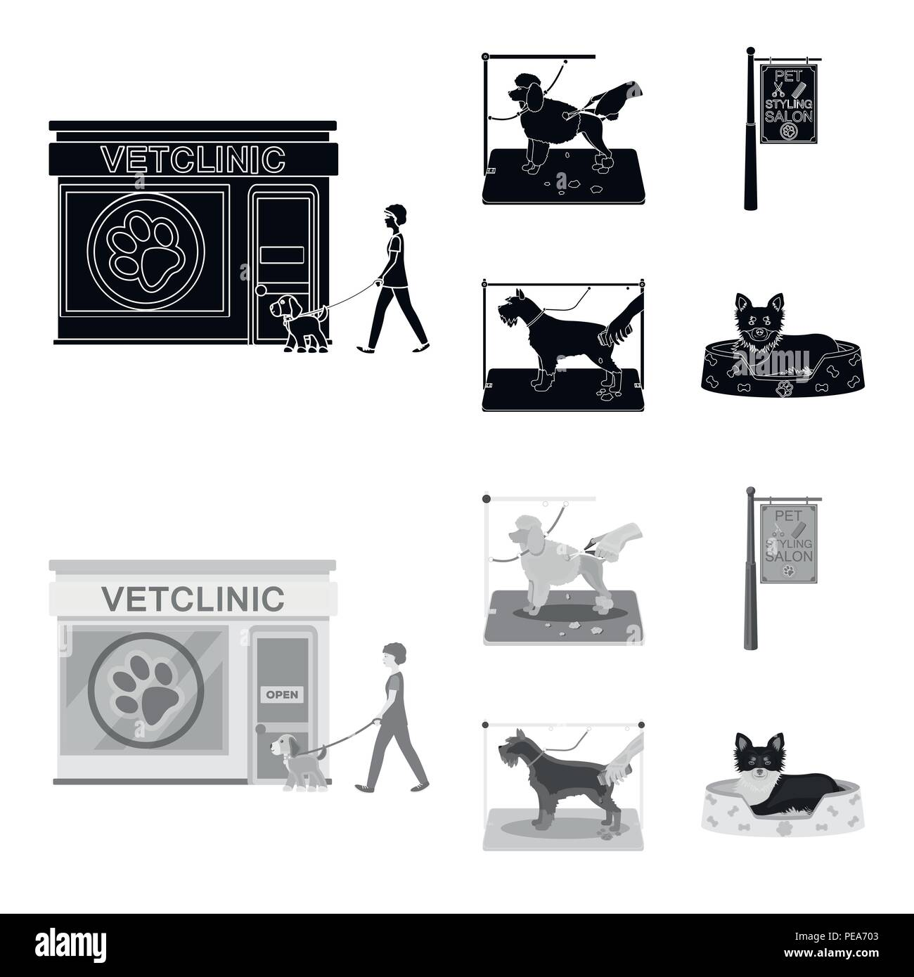 Visiting a vet clinic, a signboard of a stylish salon for a pet, a haircut of dogs. Vet clinic and pet,dog care set collection icons in black,monochro - Stock Image