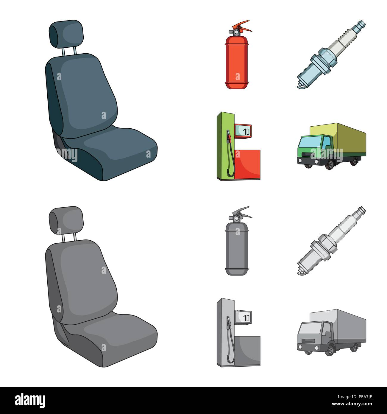 Chair With Headrest Fire Extinguisher Car Candle Petrol Station Set Collection Icons In Cartoonmonochrome Style Vector Symbol Stock Illustrat