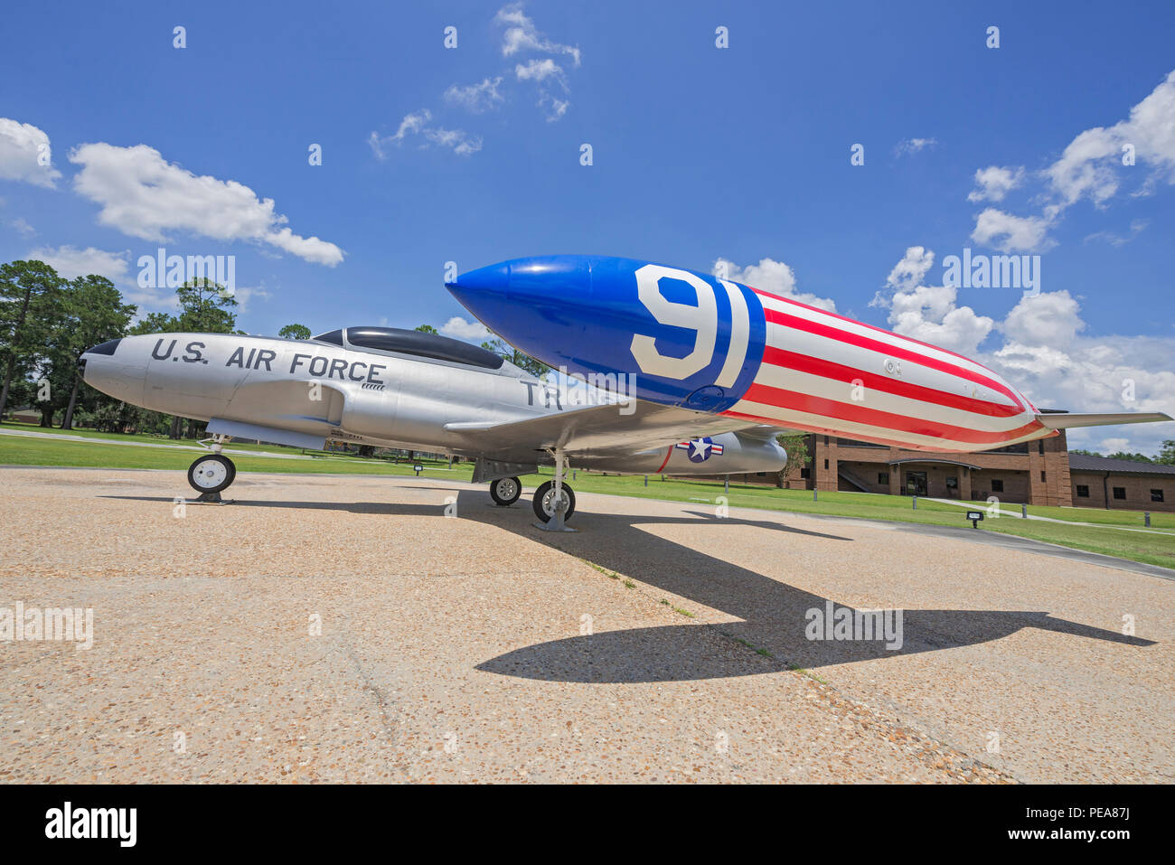 Air Park at Moody AFB was dedicated to President George W. Bush who was a pilot in training at Moody 1968-69. - Stock Image