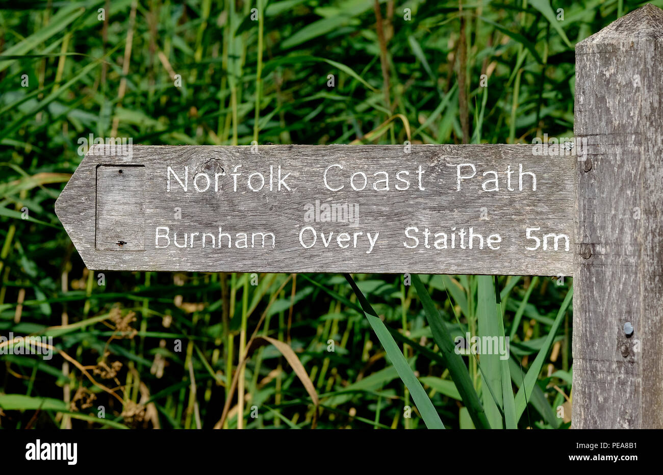norfolk coast path sign at wells-next-the-sea, england - Stock Image