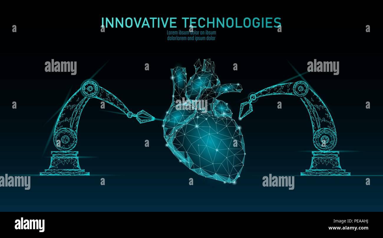 Robotic heart surgery low poly. Polygonal cardiology surgery procedure. Robot arm manipulator. Modern innovative medicine science automation technology. Triangle 3D render shape vector illustration Stock Vector