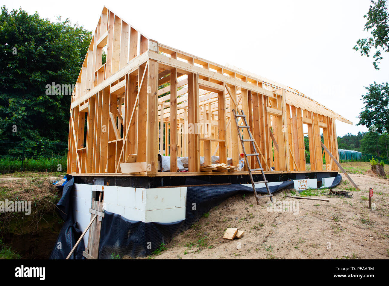 Stick built home under construction, new build roof with