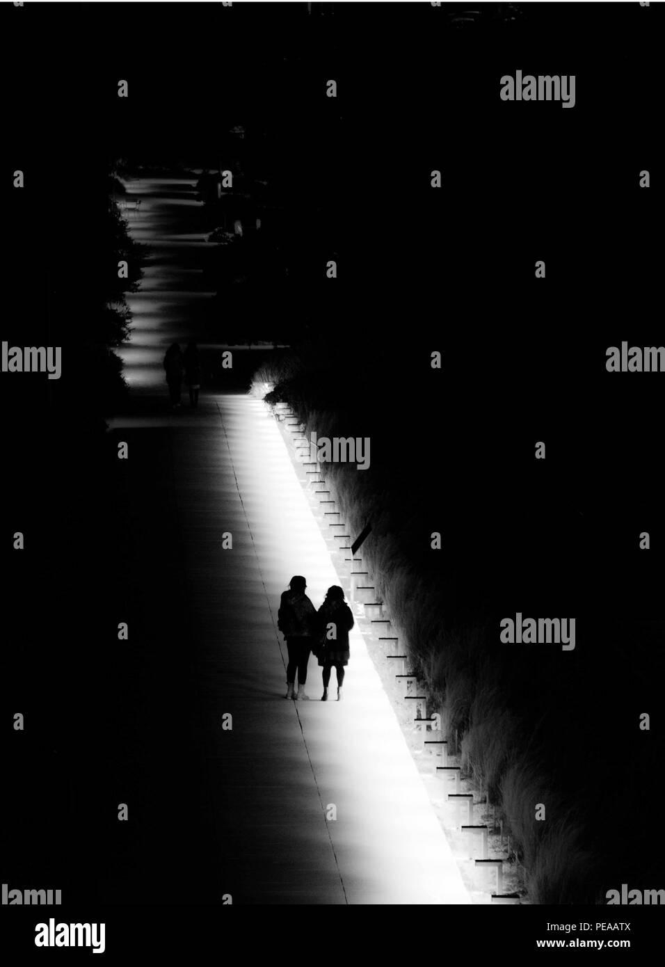 Night walk at the park - Stock Image