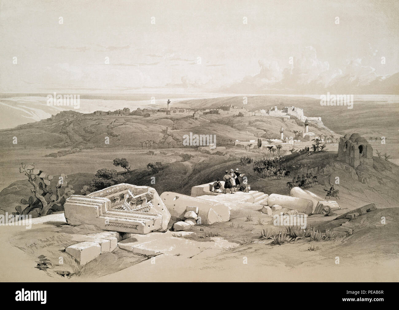 Gaza.  After a work by Scottish artist David Roberts, 1796-1864 and Belgian lithographer Louis Haghe, 1806-1885. - Stock Image