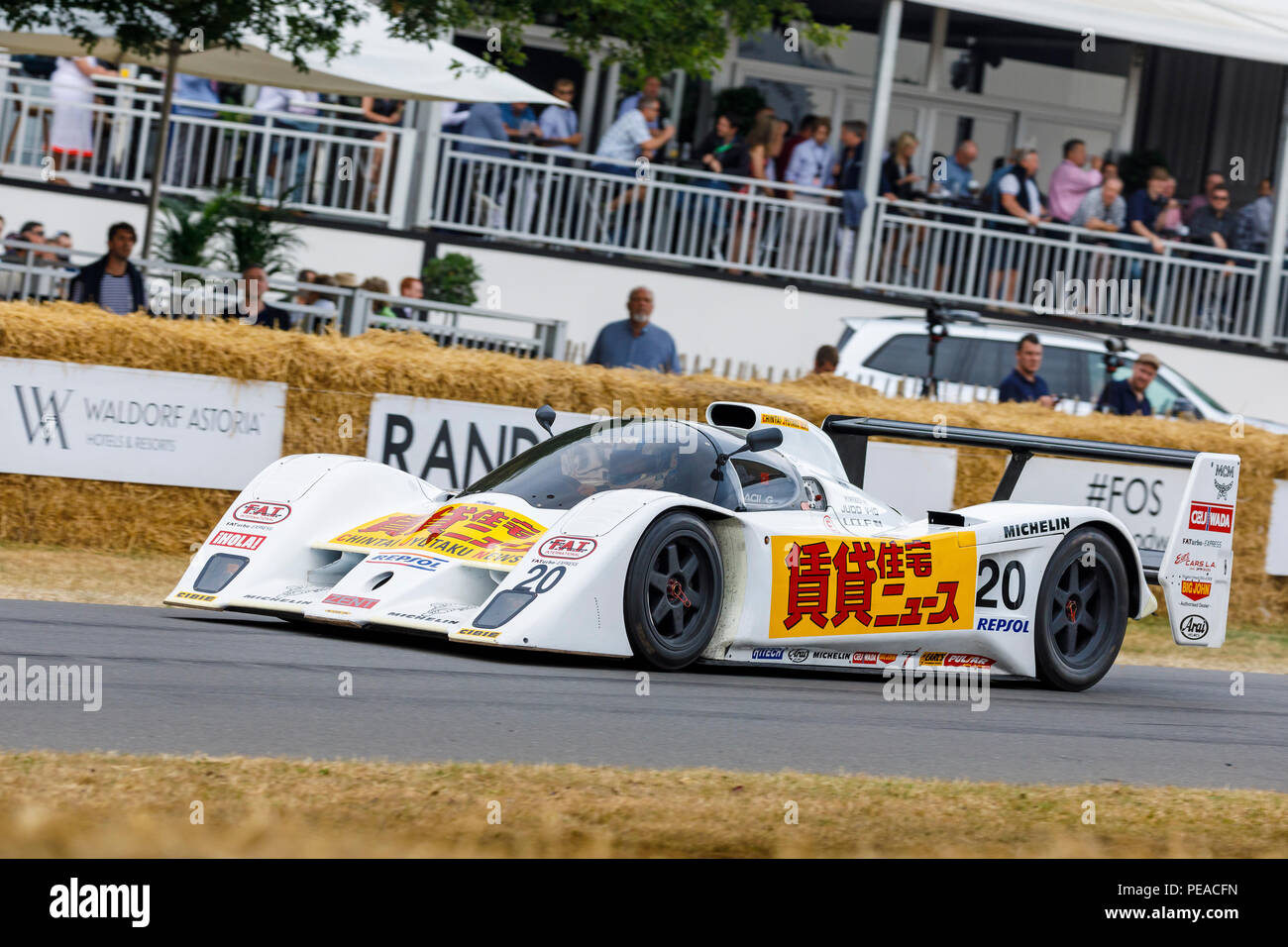 1992 Lola-Judd T92/10 Group C racer with driver Peter Garrod at the 2018 Goodwood Festival of Speed, Sussex, UK. Stock Photo