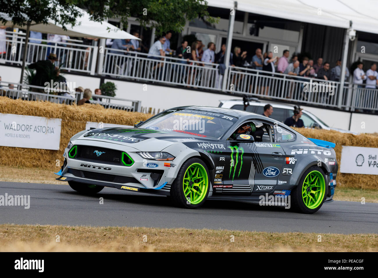 2018 Ford Mustang RTR Drift car with driver Vaughn Gittin Jr at the 2018 Goodwood Festival of Speed, Sussex, UK. - Stock Image