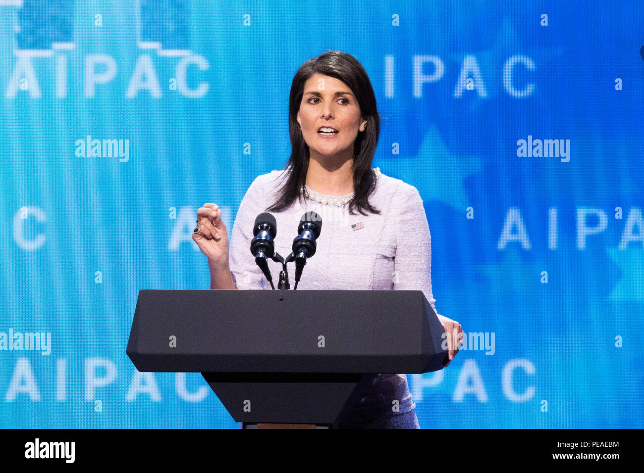 Nikki Haley, United States Ambassador to the United Nations, speaking at the AIPAC (American Israel Public Affairs Committee) Policy Conference at the - Stock Image