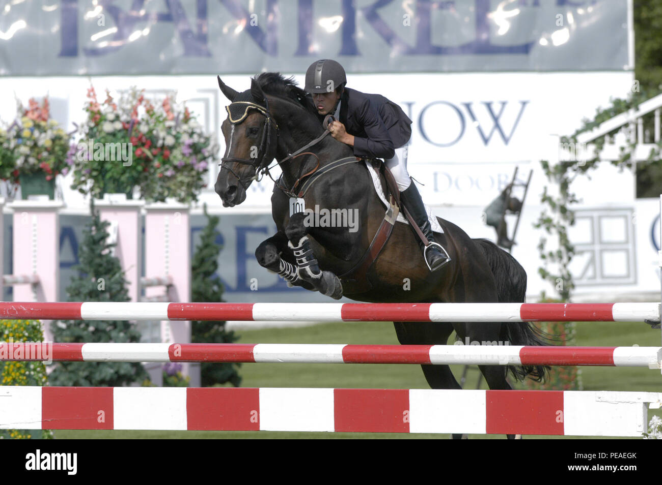 CSIO Masters, Spruce Meadows, September 2004, Roberto Teran (COL) riding Polyfax Stock Photo