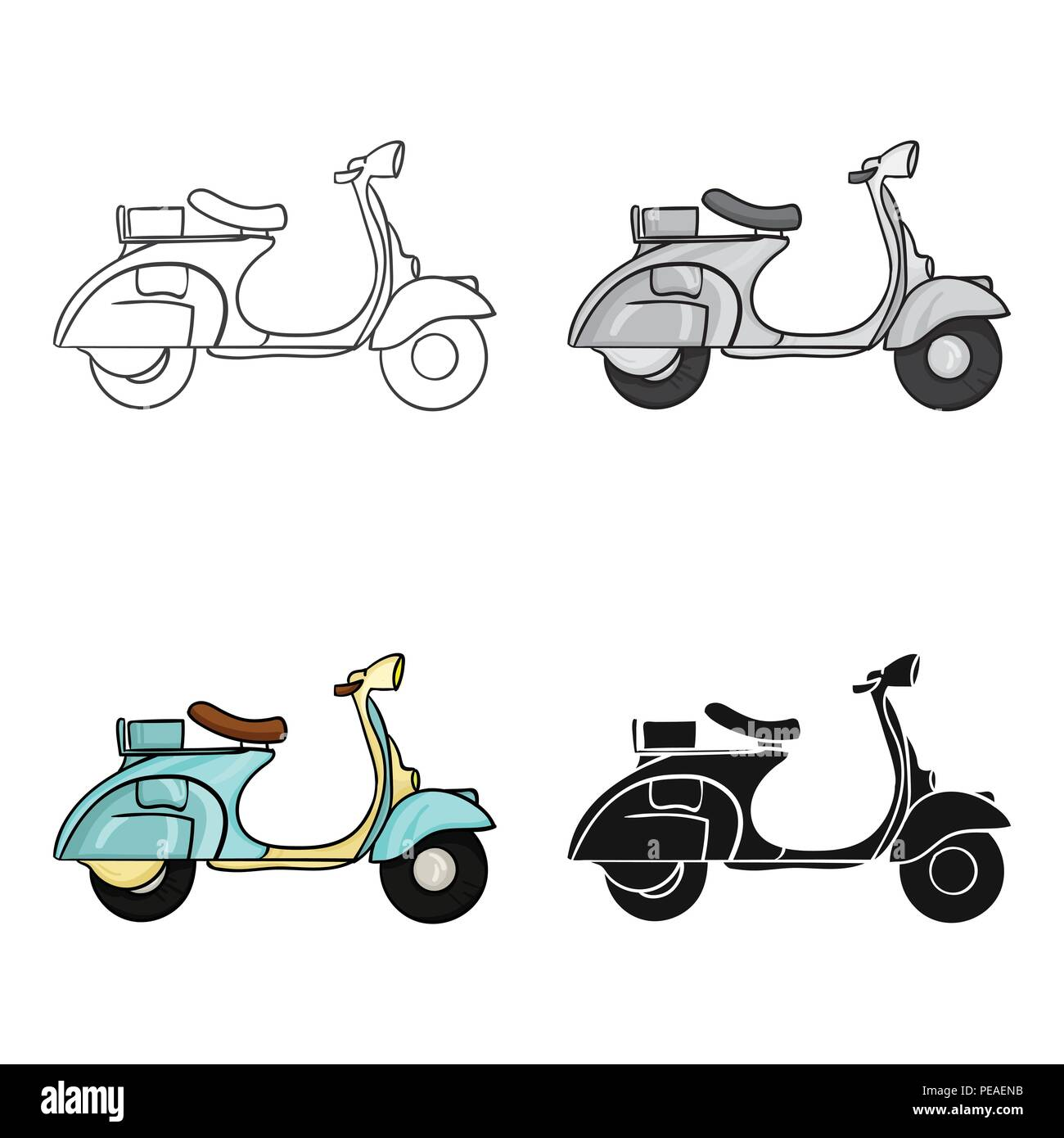 Art Background Bike Cartoon Classic Country Design Hipster Icon Illustration Isolated Italian Italy Logo Motor Motorcycle Old Retro Ride Road Scooter Speed Style Symbol Transport Transportation Travel Urban Vector Vehicle Vespa Vintage Web Wheel