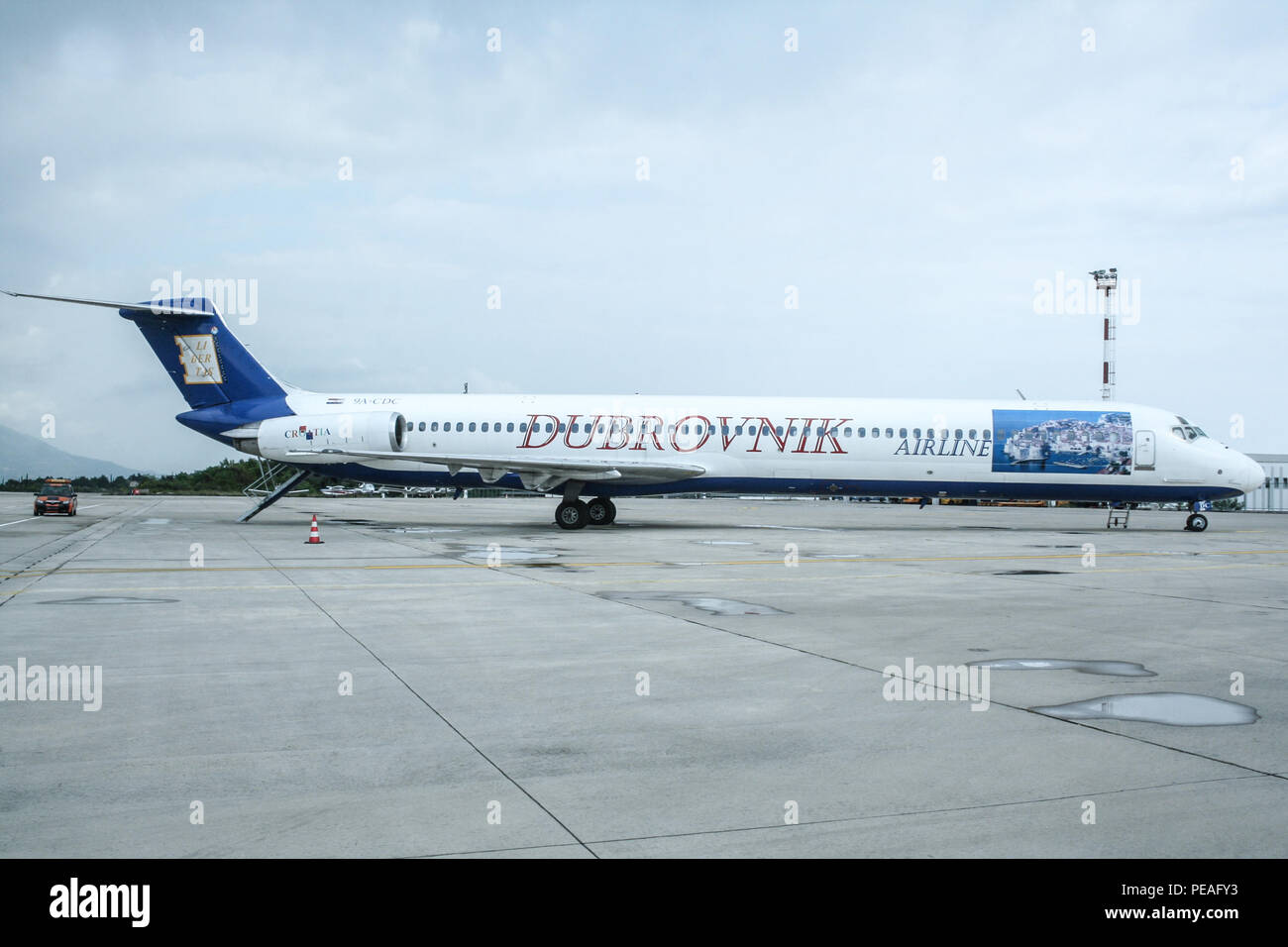 DUBROVNIK, CROATIA - APRIL 27 - 2007: MD82 from Dubrovnik Airlines on the apron of Dubrovnik airport. the company was a charter airline from Croatia,  Stock Photo