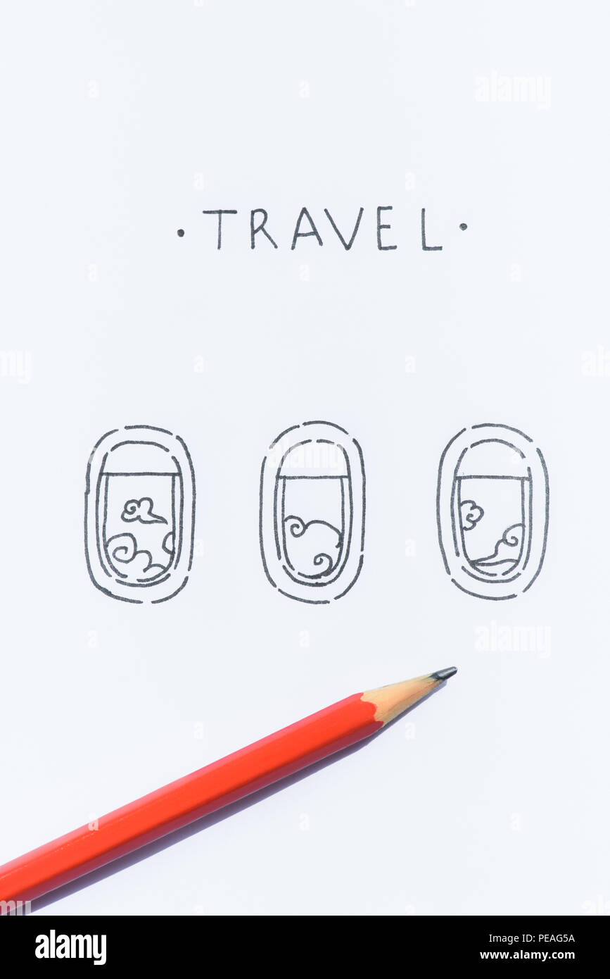 Close Up View Of Pencil On White Paper With Travel Lettering And