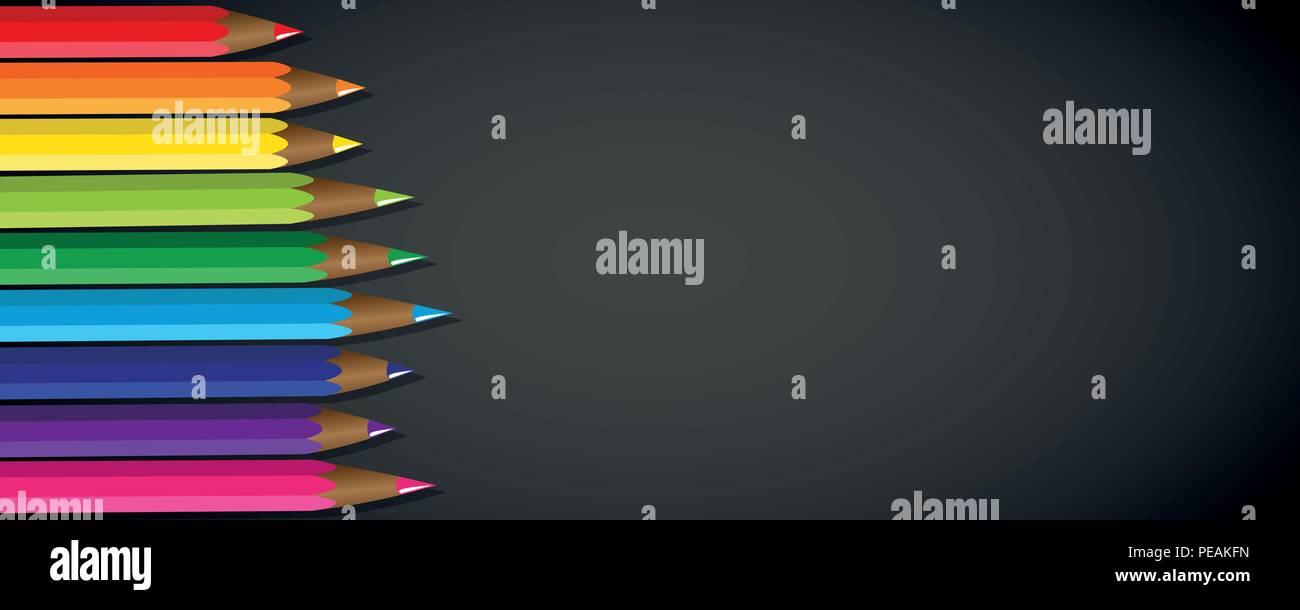 colored pencils rainbow color black background vector illustration EPS10 - Stock Vector