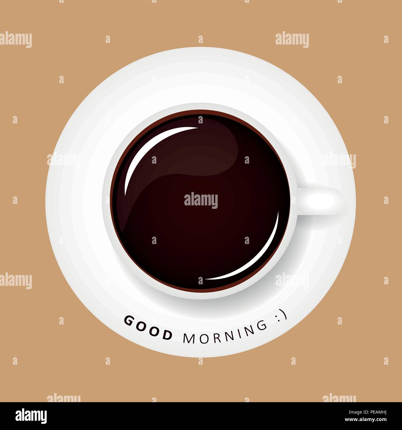 Good Morning Coffee Black Happy Smiley Vector Illustration