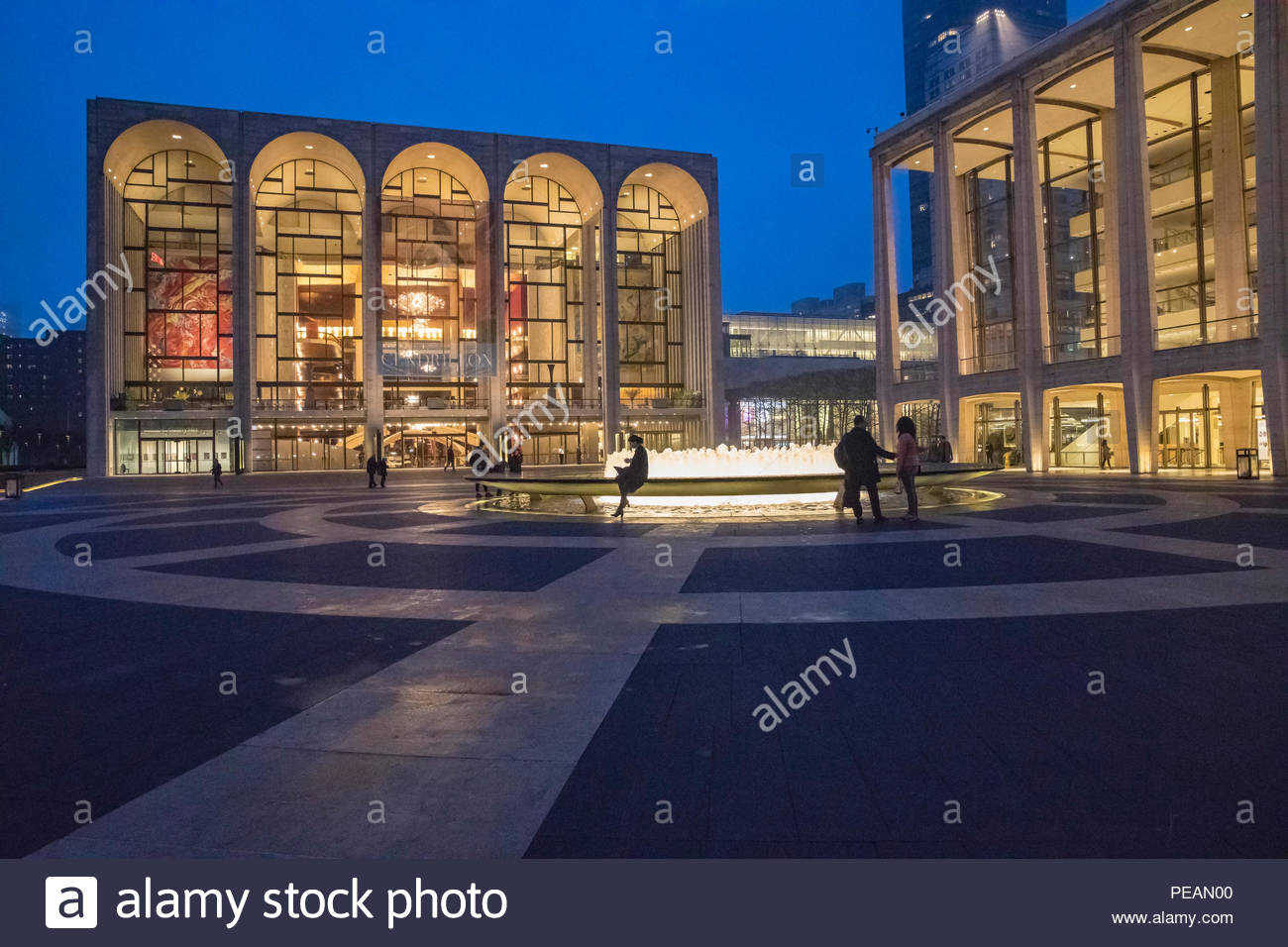Lincoln Center at Night during blue hour in New York City, New York USA - Stock Image