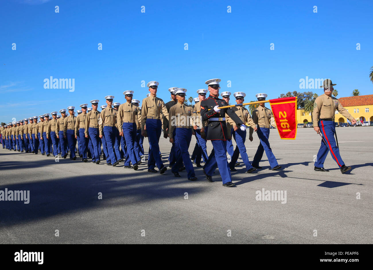 Marines From Hotel Company 2nd Recruit Training Battalion March Across The Parade Deck During A Graduation Ceremony At Marine Corps Recruit Depot San Diego Nov 20 Graduation Comes After The Completion Of