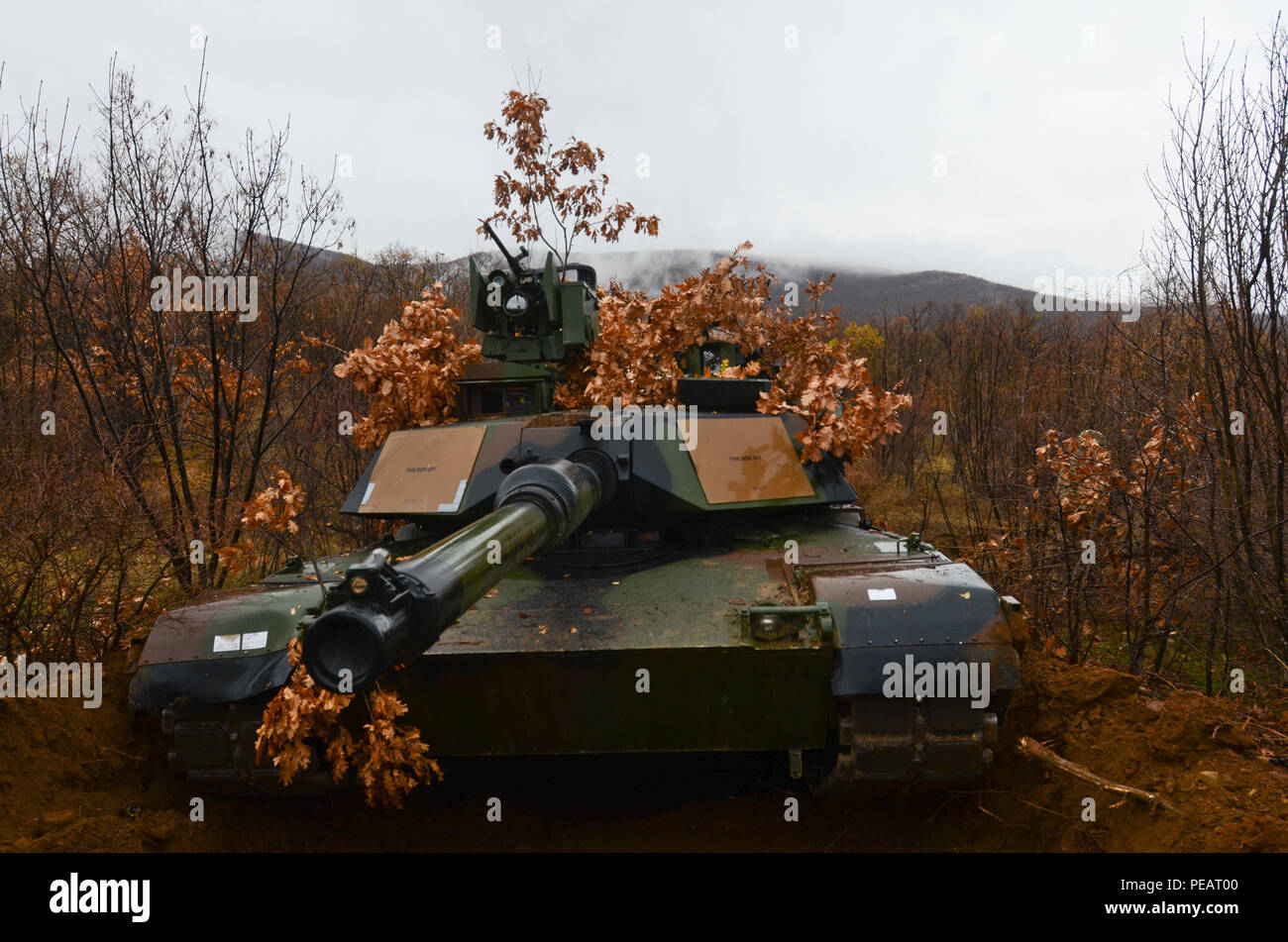 Soldiers of 5th Squadron, 7th Cavalry Regiment, 3rd Infantry Division, stationed at Fort Stewart, Ga., drive a camouflaged an M1A2 System Enhancement Package Version 2 Abrams tank during Exercise Peace Sentinel at Novo Selo Training Center, Bulgaria, Nov. 23, 2015. (Photo by Staff Sgt. Steven M. Colvin/Released) - Stock Image