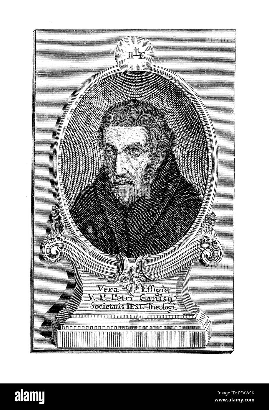 Engraving portrait of  Peter Canisius (1521-1597), Dutch Jesuit and catholic priest during the Protestant Reformation era. - Stock Image