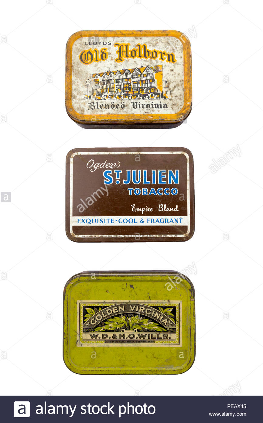 Old fashioned tobacco tins - Stock Image