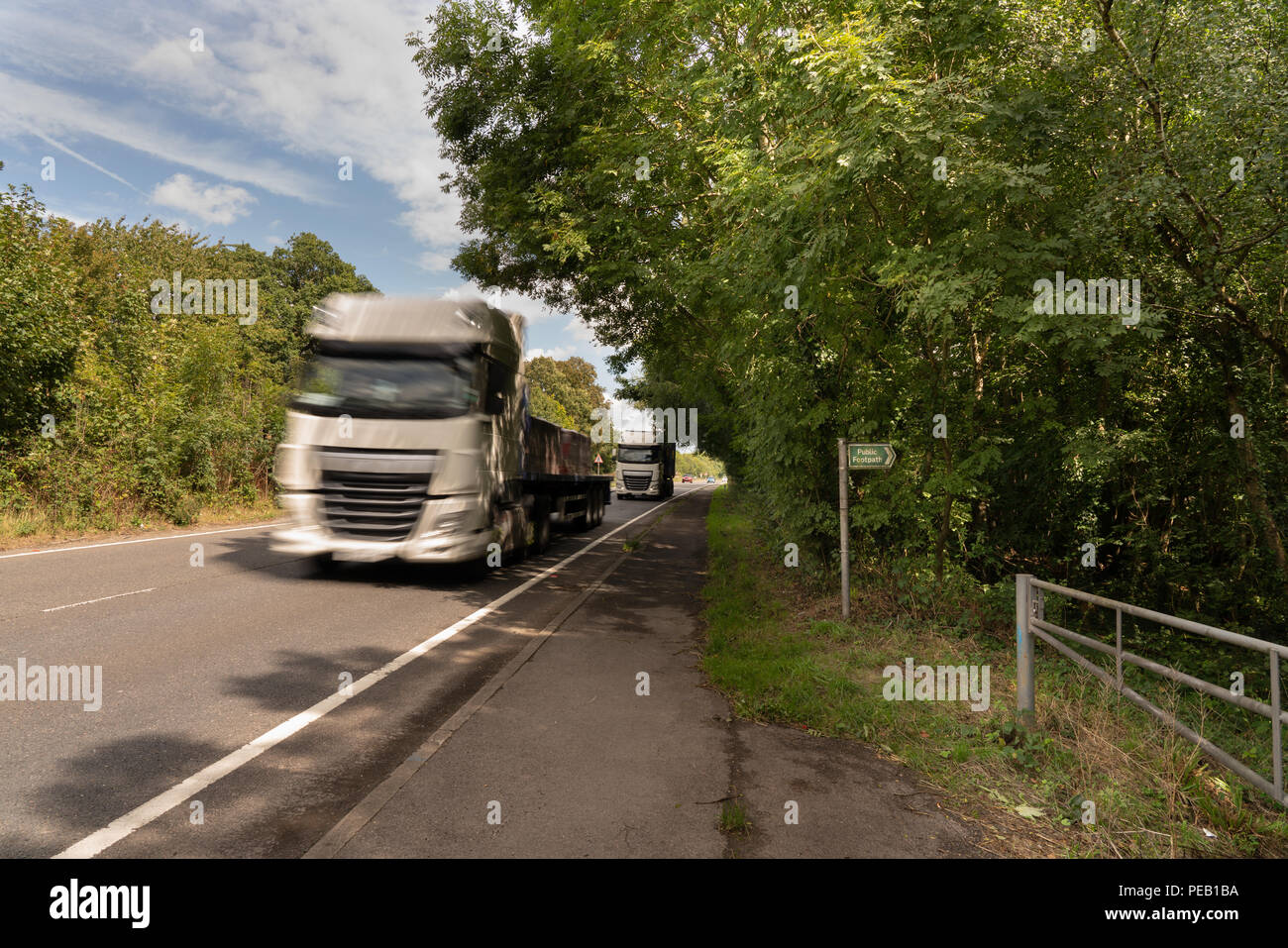 Lorries on the A24 dual carriageway pass close to Binsted Woods, Arundel: Option 5A Arundel Bypass will cut through this ancient woodland. - Stock Image