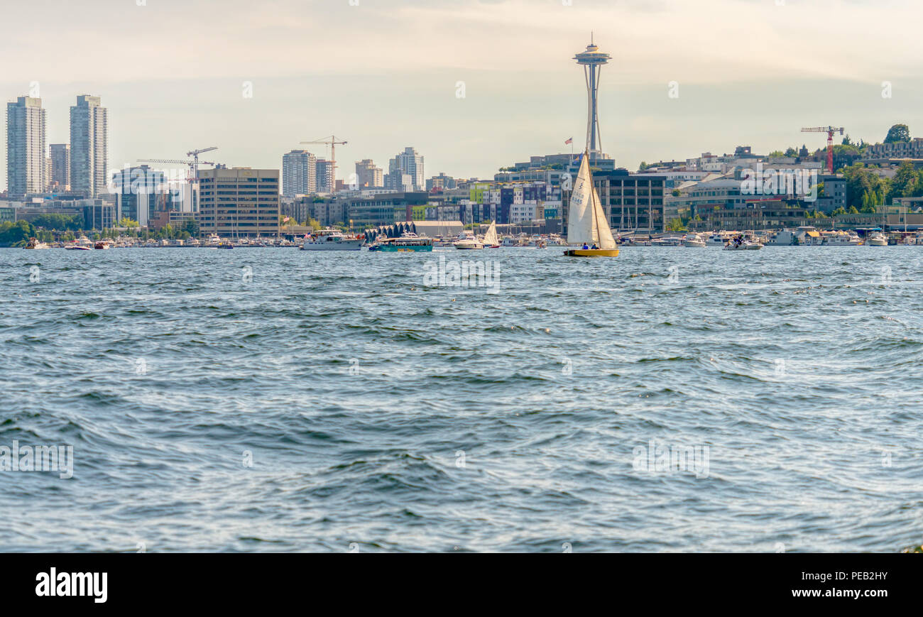 Seattle city skyline with Space Needle from a boat on Lake Union, Seattle Washington - Stock Image