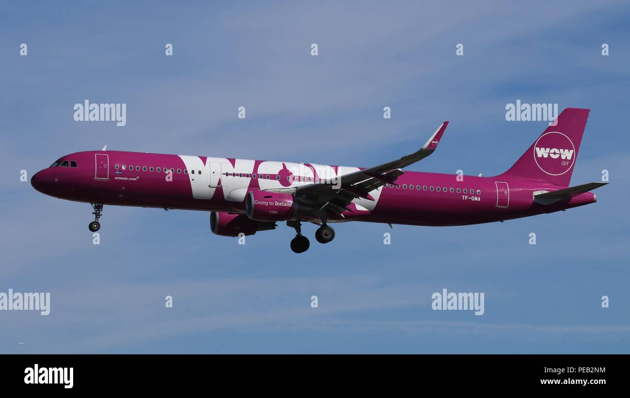 Wow Air Airbus A321 TF-GMA on short finals for runway 26L at London Gatwick, LGW EGKK on Saturday 11th August 201 - Stock Image